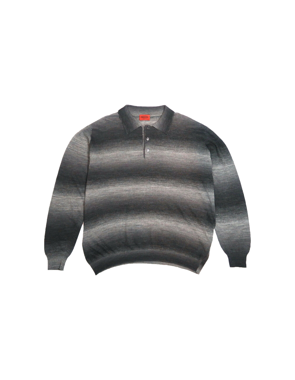 MISSONI Greyscale Gradient Knit Long Sleeve Polo