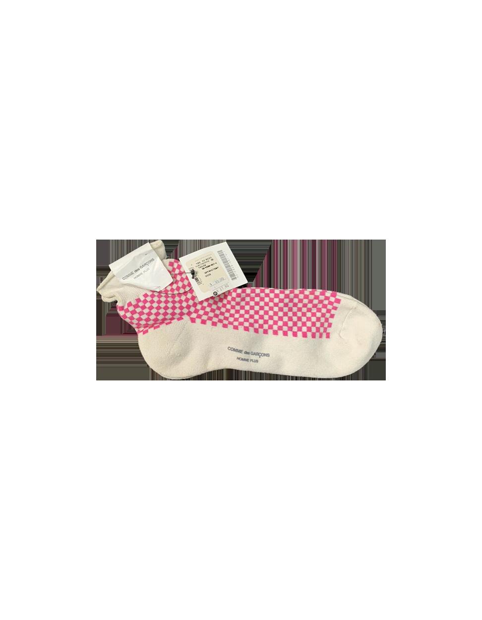 Vintage Comme Des Garcons Homme Plus Socks Checkered Pink